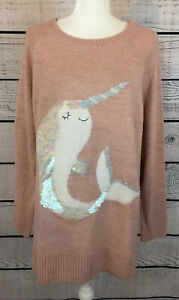 Lauren-Conrad-Pink-Narwhal-Sequined-Pullover-Sweater-Women-s-Size-XXL-NWT