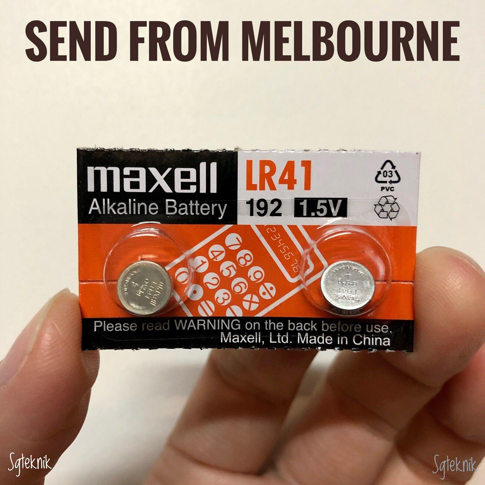 Genuine 2pcs Maxell LR41 Button Battery AG3 392 192 SR41 Alkaline Cell FREE Post