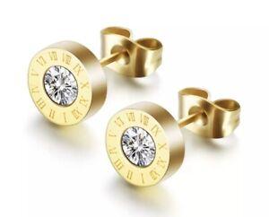Ohrringe-Ohrstecker-Roemische-Ziffern-Zahlen-Bulgarien-Luxus-Gold-Swarovski