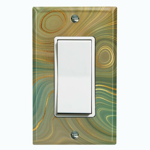 Metal Light Switch Cover Wall Plate For Room Marble Swirl Green Brown MAR074