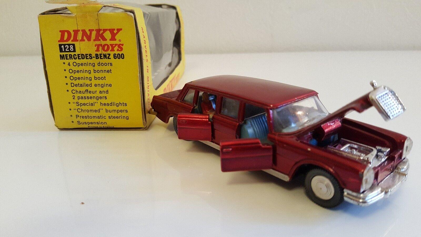 Dinky toys - 128-mercedes 600 bordeaux blueee interior + original box export