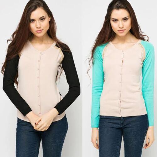8-10 Nouveau Femme Chaîne Bordure Contrastée Manche Cardigan Knitwear UK