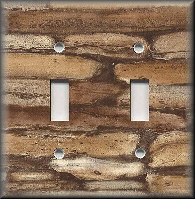 Light Switch Plate Cover - Rustic Brown Stone Rock Image - Kitchen Decor
