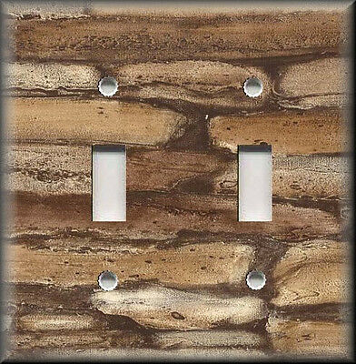 Metal Light Switch Plate Cover - Rustic Brown Stone Rock Image Cabin Home Decor
