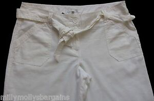 New-Womens-White-Linen-NEXT-Trousers-Size-14-12-10-8-6-Regular-Petite
