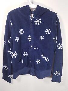 09847dd32142 EUC Girl s Gymboree Fleece Hooded Jacket Navy W snowflakes Size 7-8 ...