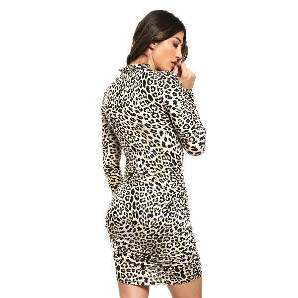 Guess Woherren Evan Leopard Ruched Long Sleeve Bodycon Dress, braun Größe XS