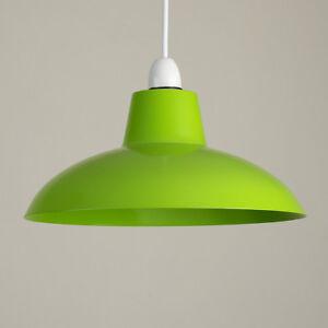 Style-Retro-Brillant-en-metal-vert-plafond-abat-jour-Suspendu-Salon-Lightshade-Home
