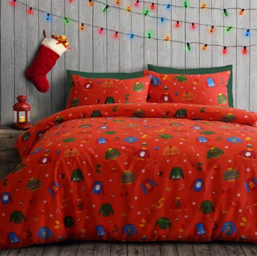 Father Christmas Santa Claus Reindeer Penguin Xmas Quilt Duvet Cover Bedding Set