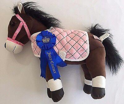 Juicy Couture Plush Brown Horse Pink Coat Blue Ribbon Hugfun 15x14 in Etiquette