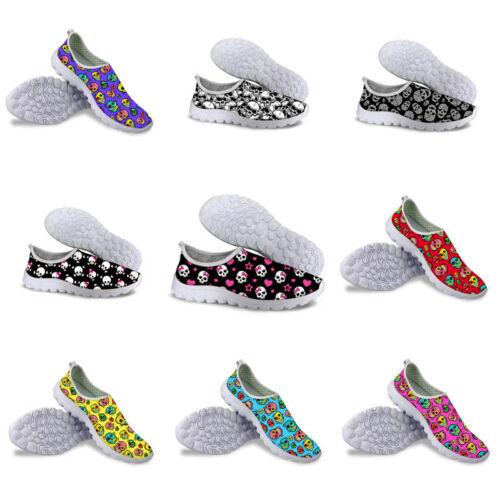 Skull Casual Women Slip On Breathable Mesh Sneaker Absorbing Sport Running Shoes