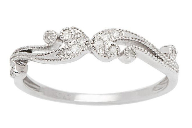 10k White gold 1 6ct Pave Diamond Vintage Style Ring (G-H, I1-I2)