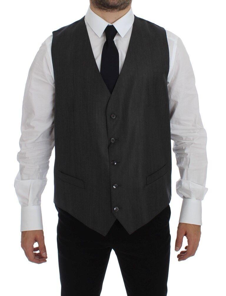 NWT 500 DOLCE & GABBANA grau Wool Silk Dress Vest Gilet Weste IT54/ US44 / XL