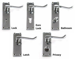 Victorian Scroll Door Handles Lock Latch Bathroom Privacy