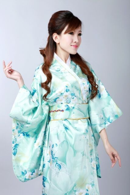 Japanese Kimono Vintage Floral Yukata Haori Costume Dress with Obi Gown Robe