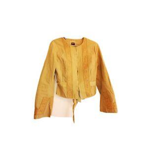 Vintage-Noa-Nao-Damen-beige-bestickt-Langarm-Leinen-Jacke-Groesse-M