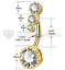 miniatuur 14 - Celebrity Silver Gold Cubic Zircon Dangle Navel Ring Belly Button Body Piercing