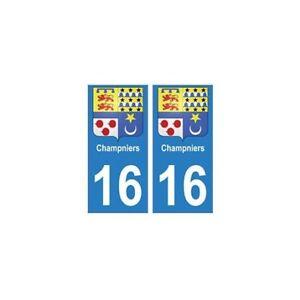 16 Champniers Ville Autocollant Plaque - Angles : Arrondis