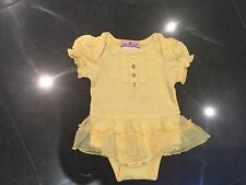 Juicy Couture New & Gen. Baby Girls Yellow Frilled Cotton Romper & Logo 0/3MTHS