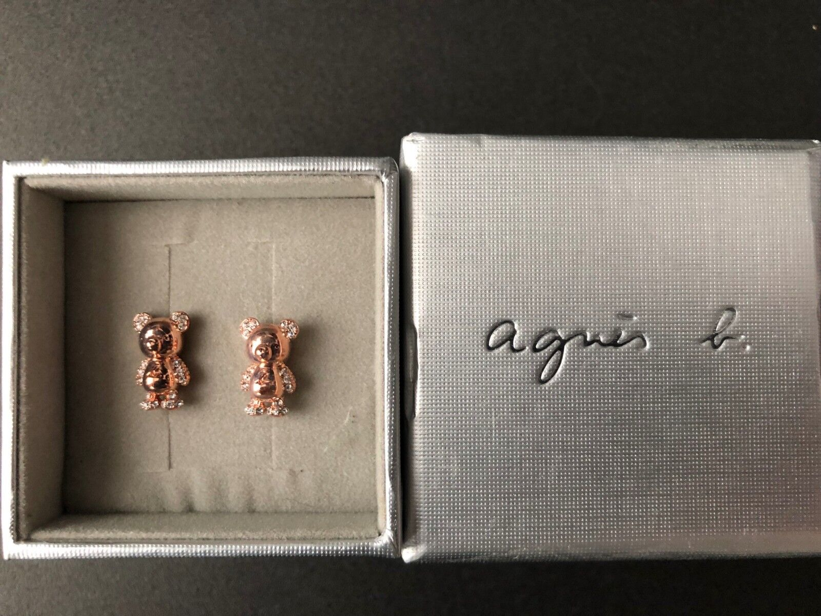 Agnis B Limited Edition Bronze Bear Earrings with Crystals NEW