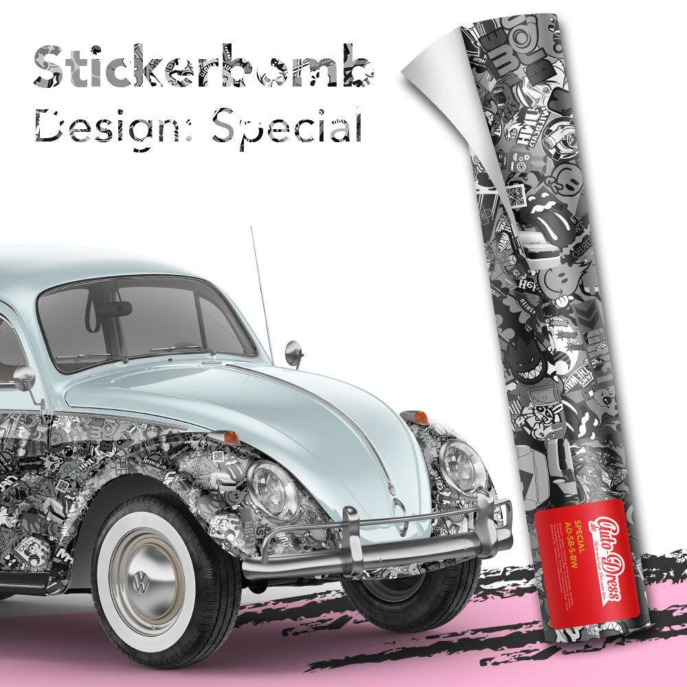 StickerBomb auto-lámina para 3d car empaquetado burbujas Special blancoo y negro brillo