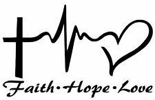"FAITH HOPE LOVE Vinyl Decal Sticker Car Window Wall Bumper Symbol Heart Cross 8"""
