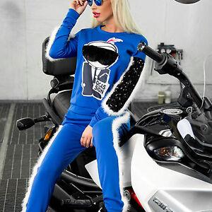 Ocassion-Damen-2-Teiler-Hausanzug-Jogginganzug-Fell-Pullover-Damenhose-Blau-XS-L