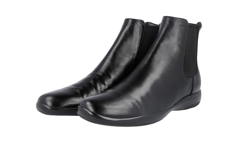 Auténtico Prada Half-Zapatos Bota Bota Bota Suave Napa 3T1381 negro nuevo nos 7.5 EU 37,5 38  mas preferencial