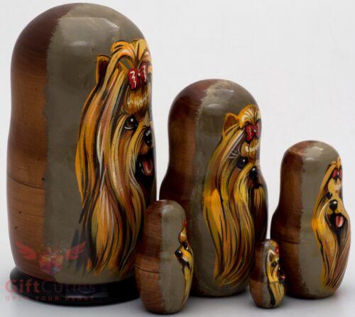 Russian Matryoshka Yorkshire Terrier Dog Wood nesting dolls toy handpainted 5pcs