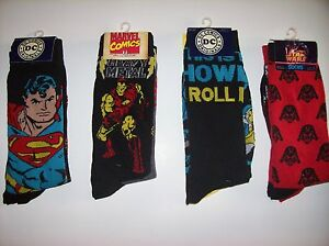 Socks-Mens-DC-Marvel-Lucas-Select-from-Superman-IronMan-Batman-Star-Wars-2pk-NIP