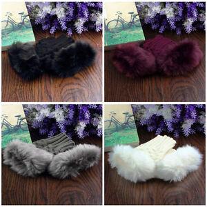 Fashion-Women-Lady-Fingerless-Fur-Winter-Warm-Wrist-Knitted-Wool-Mitten-GlovesNU