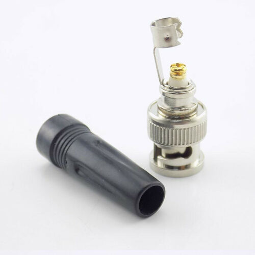 RJ59 BNC MALE CONNECTOR PLUG ADAPTER NO SOLDER QUICK FIT STRAIN TAIL for CCTV AV