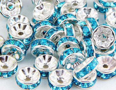 50Pcs 15 Colors Silver Plated Color Crystal Loose Spacer 8x4mm