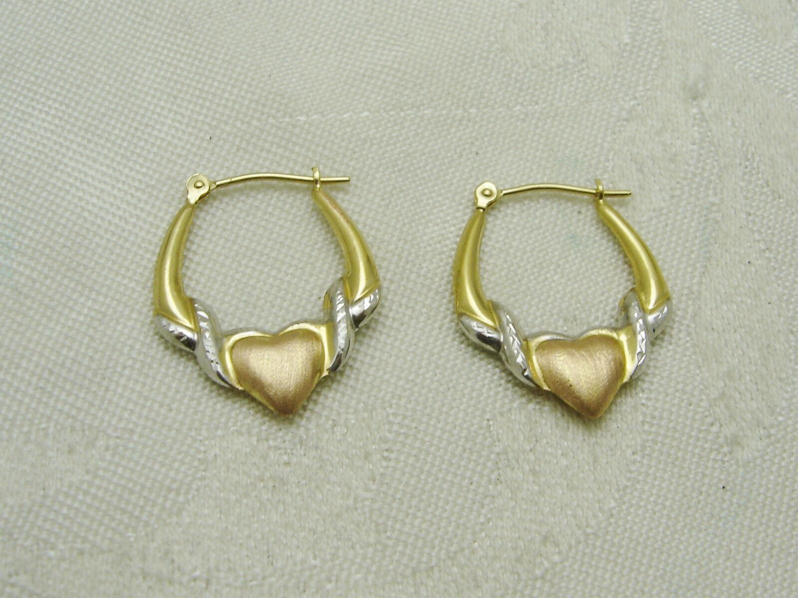 14K YELLOW WHITE pink gold HEART IN HOOP PIERCED EARRINGS N160-S