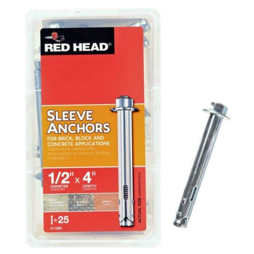 11285 NEW RED HEAD 1//2 in 25-Pack x 4 in Steel Hex-Head Sleeve Anchors