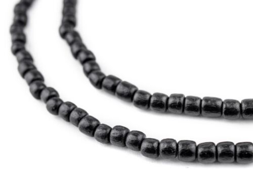 Black Nugget Natural Wood Beads 5mm Cylinder 16 Inch Strand