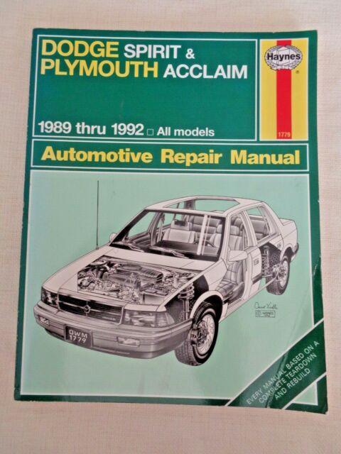 Haynes Repair Manual 1779 Dodge Spirit Plymouth Acclaim