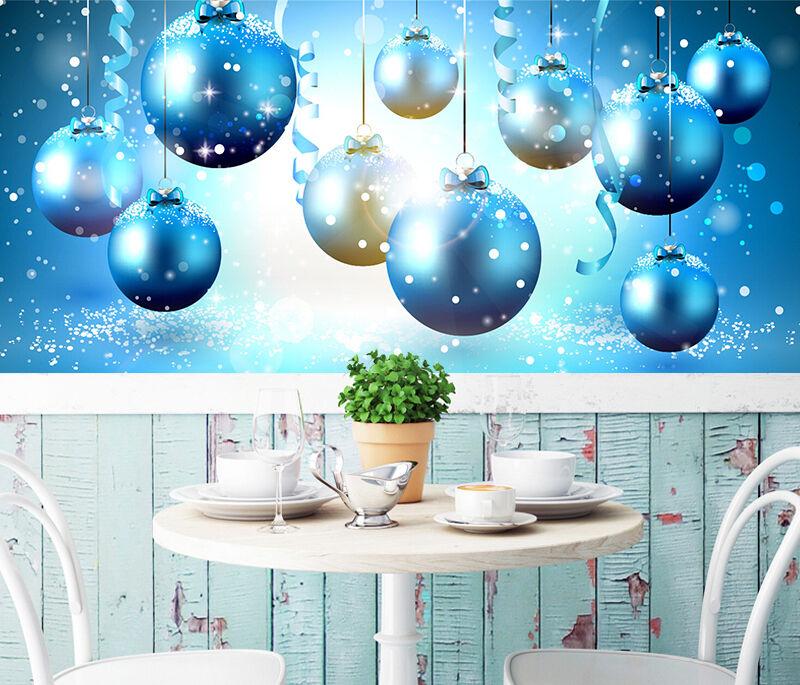 3D Christmas bluee circle 435 WallPaper Murals Wall Print Decal AJ WALLPAPER