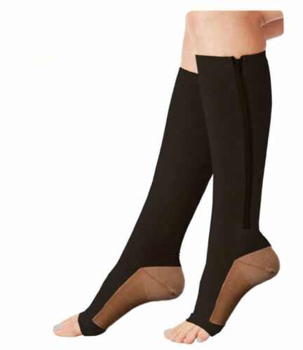 3pairs Copper Compression Support Zipper Socks Graduated Stockings Men/'s Women/'s