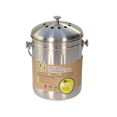 Kitchencraft Stainless Steel Compost Food Bin /& 1 pack of 2 Filters