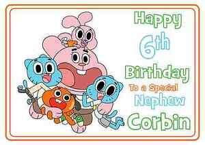 Image Is Loading The Amazing World Of Gumball Personalised A5 Birthday