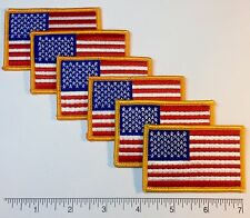 """6-pack: American Flag Embroidered Patch 3x2"""" -- Patriotic US USA United States"""