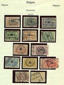 Belgium-1895-1902-range-of-railway-parcel-post-issues-10c-to-2f-sgP96-108-Stamps