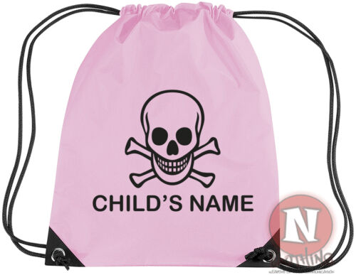 Personalised pirate sports kit bag add child/'s name Drawstring PE school