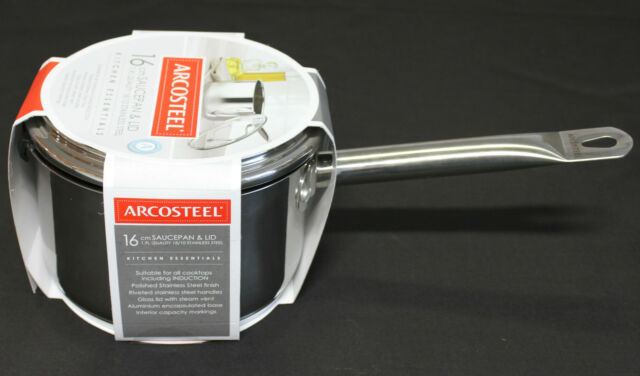 Arcosteel 16cm Saucepan & Glass Lid 1.9L Quality 18/10 Stainless Steel