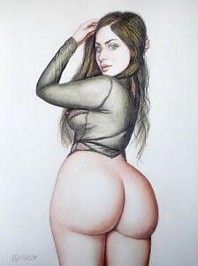 Original-Zeichnung-034-Judith-stehend-034-Akt-Erotik-Nude