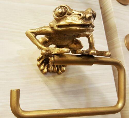 Brass Tissue Roll Paper Holder Hang ฺBIG FROG Vintage Toilet Bathroom Home Decor