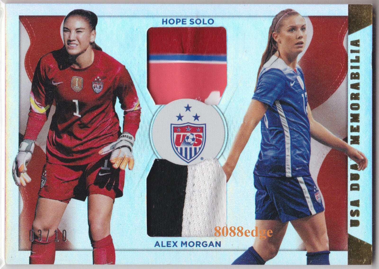 2015 PANINI SOCCER DUAL 4CL PATCH HOPE SOLO + ALEX MORGN  3 10 NATIONAL TEAM USA