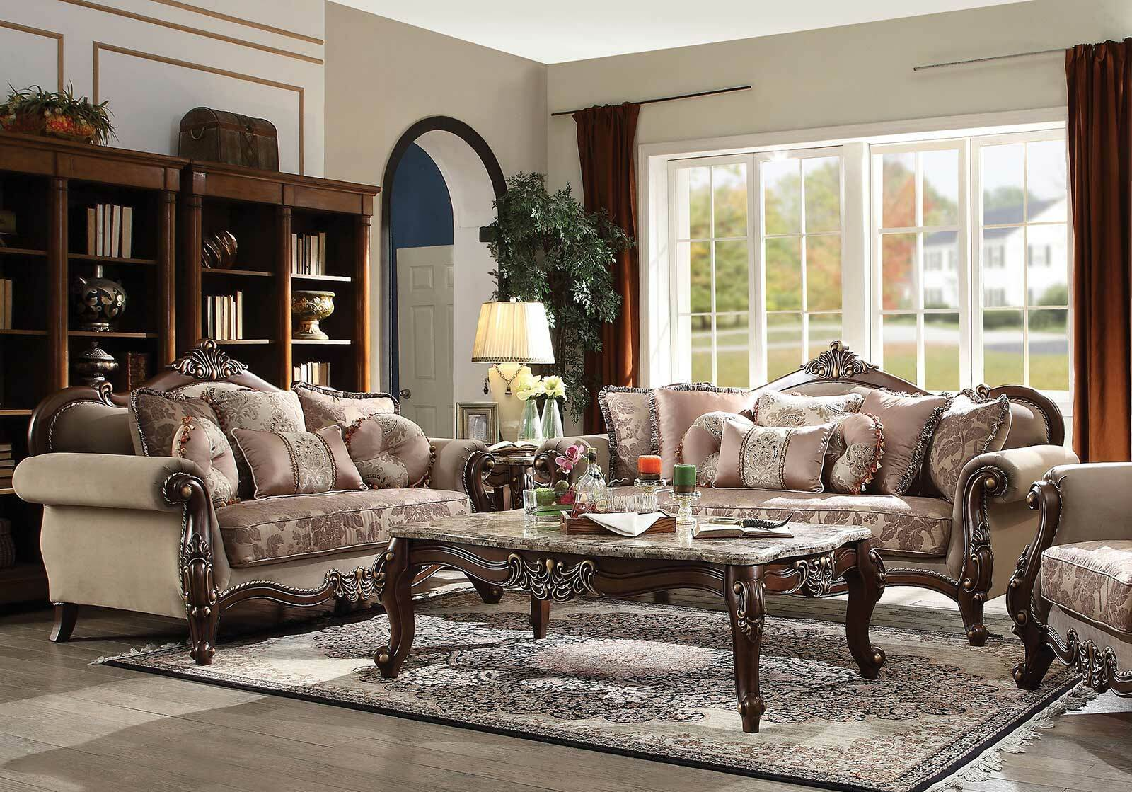 Picture of: New Old World Living Room Walnut Brown Wood Trim Fabric Sofa Loveseat Set Igax For Sale Online