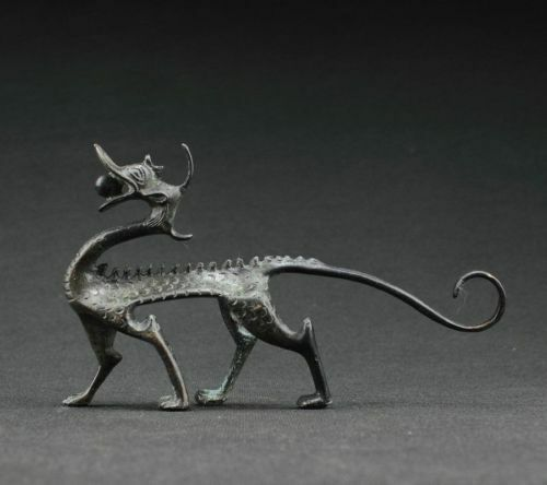 Rare COLLECTIBLES OLD DECORATED HANDWORK BRONZE CARVING DRAGON WONDERFUL STAT